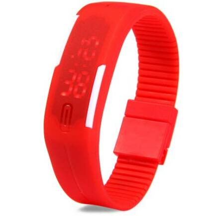 Modern LED karkötős unisex karóra dátum kijelzéssel - Piros