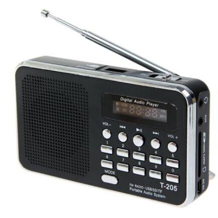T-205 digitális multifunkciós HiFi rádió - Fekete