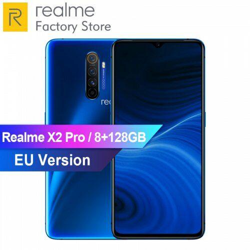 EU ECO Raktár - OPPO Realme X2 Pro 4G Okostelefon 6.5inch 64MP Snapdragon 855 plus 8GB RAM + 128GB ROM - Kék