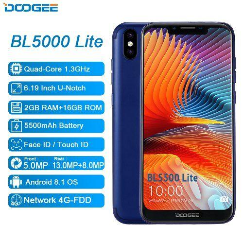 EU ECO Raktár - DOOGEE BL5500 Lite U-Notch 4G Okostelefon 6.19 inch MTK6739 Quad Core 2GB RAM 16GB ROM - Kék