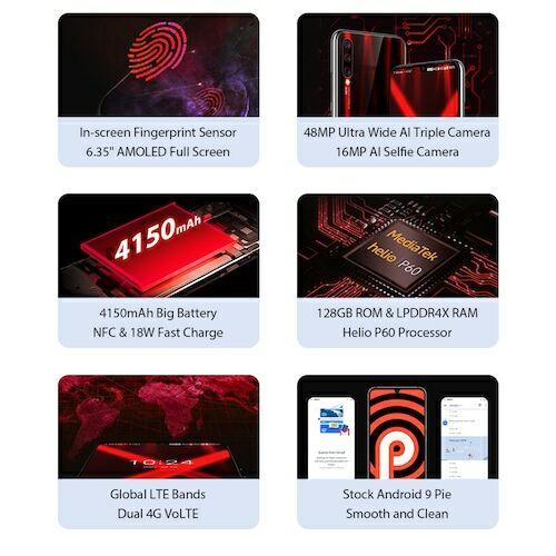 EU ECO Raktár - UMIDIGI X 6.35 inch AMOLED 48MP Triple előlapi Kamera 128GB NFC Helio P60 4150mAh Okostelefon - Fekete