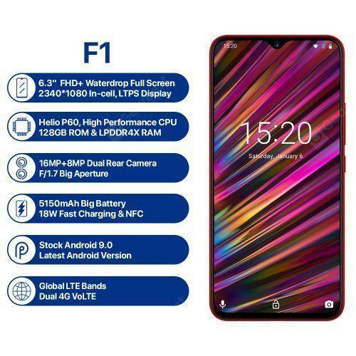 EU ECO Raktár - UMIDIGI F1 4G okostelefon 6.3 inch Android 9.0 Helio P60 Octa Core 2.0GHz 4GB RAM 128GB ROM 16.0MP - Piros