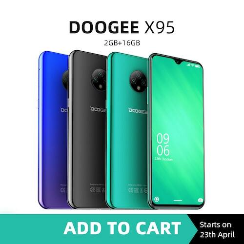 EU ECO Raktár - DOOGEE X95 Android 10 4G-LTE Okostelefon 2GB RAM 16GB ROM 6.52 Display MTK6737 - Kék