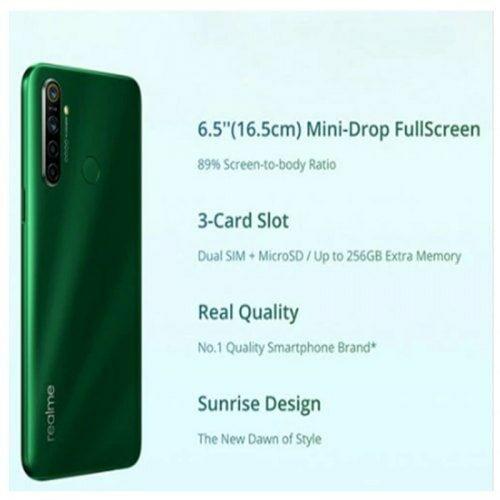 EU ECO Raktár -  OPPO Realme 5i 6.5inch 4G Okostelefon 1600x720 5000mAh 4GB RAM 64GB ROM - Zöld