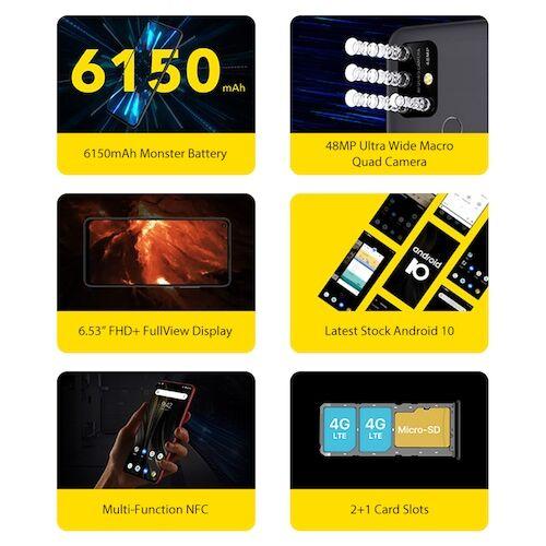 EU ECO Raktár - UMIDIGI Power 3 6.53 inch FHD+ 4GB HelioP60 64GB ROM Quad Kamera Android 10 - Zöld