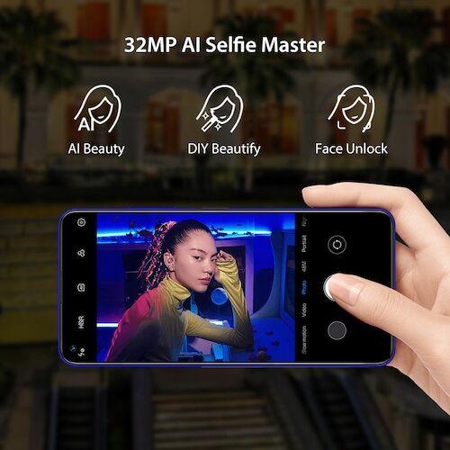 EU ECO Raktár - UMIDIGI F2 6.53 inch FHD +  Android 10 32MP Selfie Helio P70 48MP AI Quad Camera Okostelefon - Kék