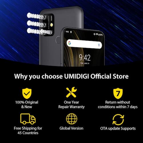 EU ECO Raktár - UMIDIGI Power 3 6.53 inch FHD+ 4GB HelioP60 64GB ROM Quad Kamera Android 10 - Piros