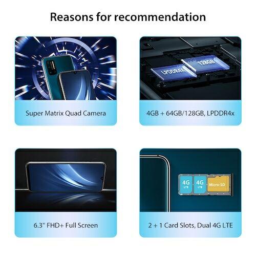 EU ECO Raktár - Umidigi A7 Pro Quad Camera Andriod 10 OS 6.3 inch FHD+ 4GB RAM 128GB ROM - Óceánkék