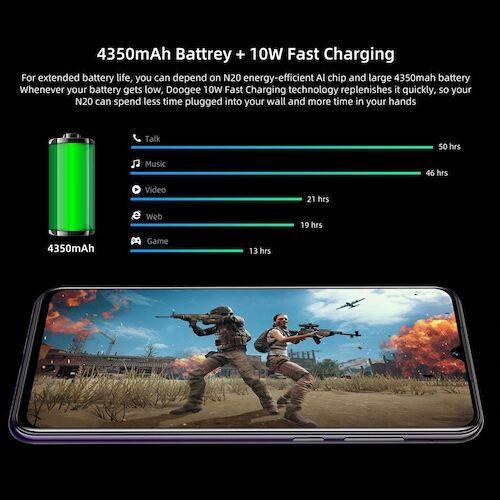 EU ECO Raktár - DOOGEE N20 6.3inch FHD+ Display 16MP 4GB RAM 64GB ROM MT6763 Octa Core 4350mAh LTE Okostelefon - Lila