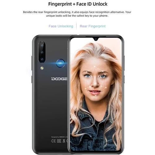 DOOGEE N20 6.3inch FHD+ Display 16MP 4GB RAM 64GB ROM MT6763 Octa Core 4350mAh LTE Okostelefon - Fekete