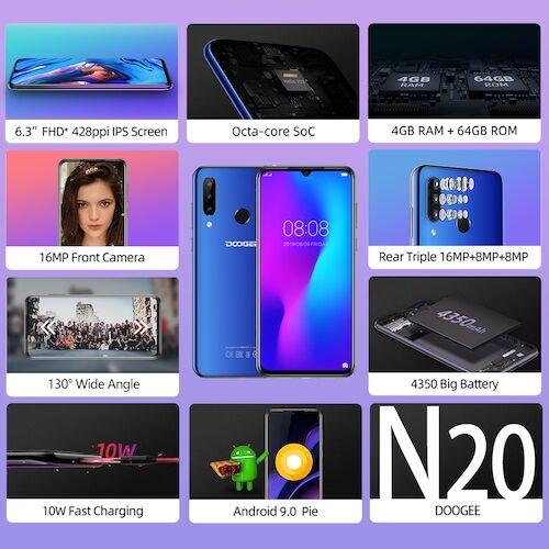 EU ECO Raktár - DOOGEE N20 6.3inch FHD+ Display 16MP 4GB RAM 64GB ROM MT6763 Octa Core 4350mAh LTE Okostelefon - Kék