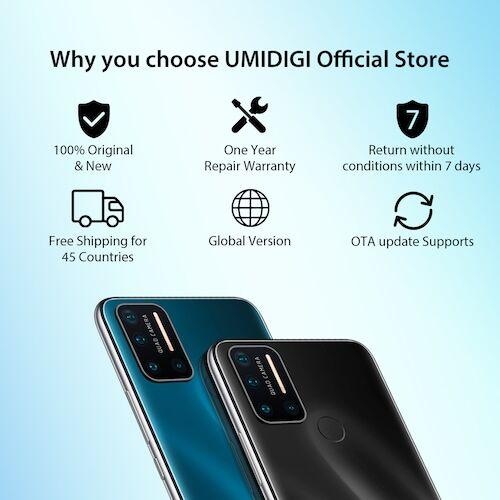 EU ECO Raktár - UMIDIGI A7 Pro Globális verzió 4G Okostelefon Quad Camera Android 10 OS 6.3 inch FHD+ Kijelző 4GB RAM 128GB ROM - Fekete