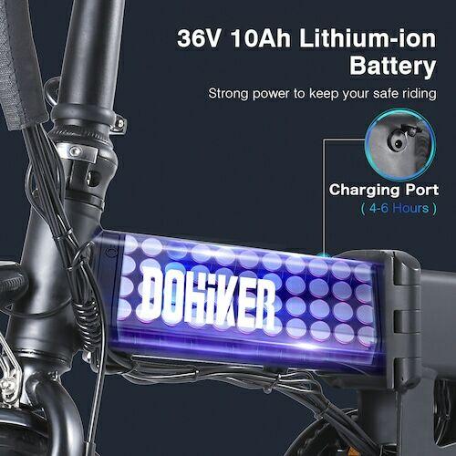 EU ECO Raktár - DOHIKER Folding Electric Bicycle 250W Elektromos E-Bike Kerékpár - Fekete