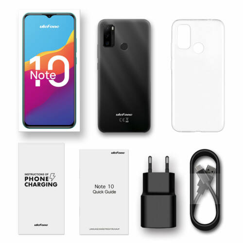 EU ECO Raktár - Ulefone Note 10 6.52 inch 2GB RAM 32GB ROM Android 11 5500mAh Octa Core 4G Okostelefon - Fekete