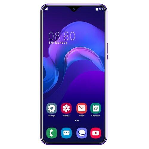 EU ECO Raktár - Y50 Pro 4G okostelefon MT6595 Quad Core 6.5 inch 2GB RAM + 32GB ROM Android 9.0 13MP + 32MP Cameras 4800mAh Battery Face ID Unlock Colorful Glass Back Cover - Lila