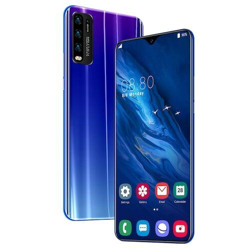 EU ECO Raktár - Y50 Pro 4G okostelefon MT6595 Quad Core 6.5 inch 2GB RAM + 32GB ROM Android 9.0 13MP + 32MP Cameras 4800mAh Battery Face ID Unlock Colorful Glass Back Cover - Kék