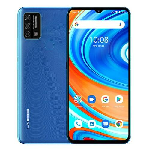 EU ECO Raktár - UMIDIGI A9 4G Okostelefon 6.53 inch HD+ Infrared Hőmérővel Android 11 5150mAh 3GB RAM 64GB ROM Helio G25 13MP - Kék